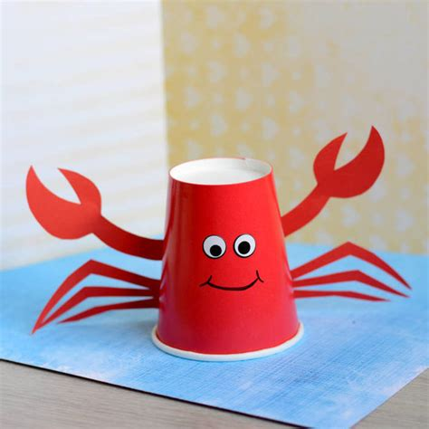 paper cup crab craft  kids blitsy