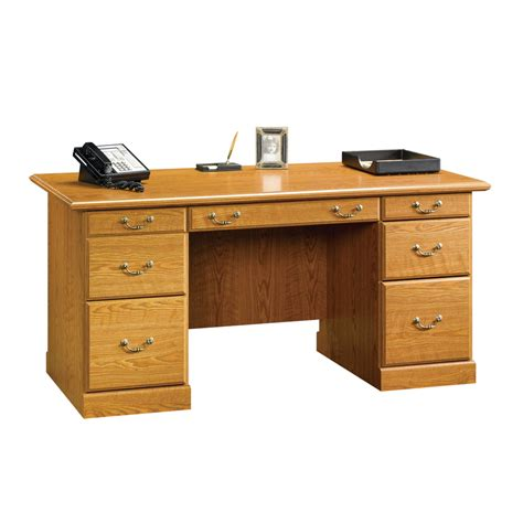 Corporate Desk Accessories Shop Sauder Orchard Carolina Oak Executive Desk At Lowes
