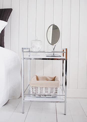 Chrome Bedroom Furniture White And Chrome Small Bedside Table White Bedroom Furniture