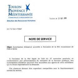 modele gratuit note de service document