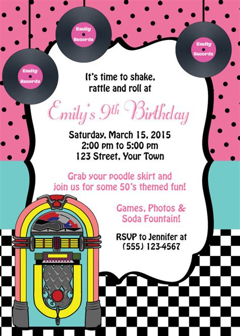 50 S Themed Birthday Invitation Birthday Invitation Personalized Digital Invitation Party Grease Invitation Template