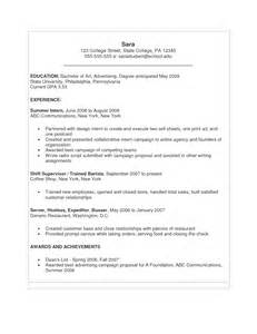 Sample Resume Format For College Students Cover Letter For Recent College Graduate No Experience