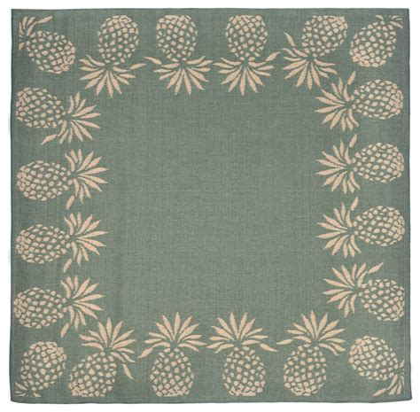 Pineapple Kitchen Rug Pineapple Border Aqua Rug 7 10 Quot Square Tropical Outdoor Rugs By Zopalo