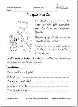 Mi gato Guille: Comprensión lectora   Spanish