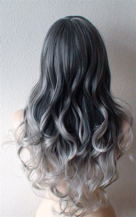 hairstyles with grey ombre ombre wig gunmetal gray silver ombre hair wig long curly