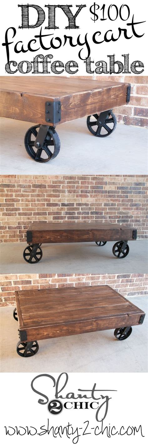 Diy Factory Cart Coffee Table Coffee Carts Industrial Diy Cart Coffee Table