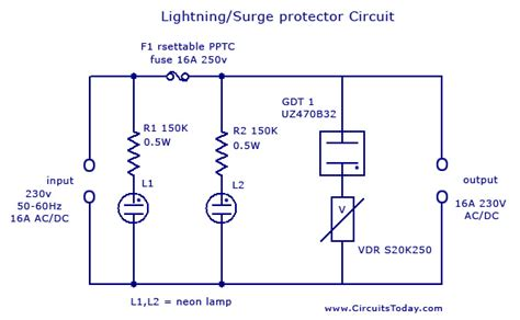 surge protector wiring diagram lightning surge protector circuit using gas discharge