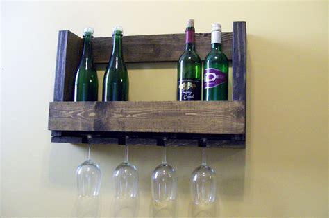 Opened Bottle Of Wine Shelf by Wood Wine Bottle Shelf With Glass Holder Ebay