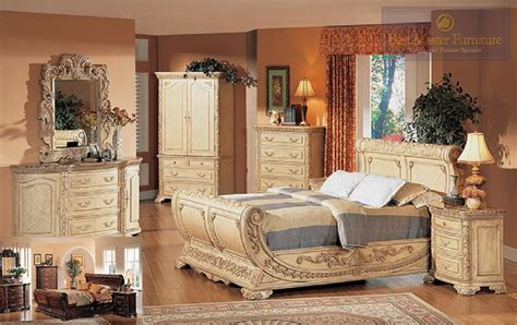 Furniture Bed Room Set Best Furniture 4 Pc B1008 Antique Beige With Marble Top Bedroom Set