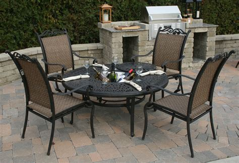 all welded aluminum sling patio furniture is a maintenance free alternative to cushioned