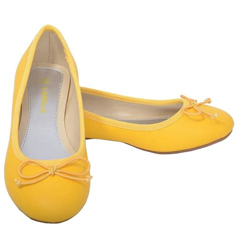 l amour toddler 8 yellow slip on bow flat dress shoes
