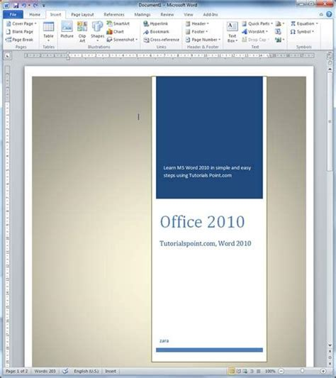Microsoft Word Cover Page Cover Pages In Word 2010