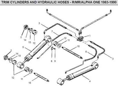 one parts mercruiser alpha one trim cylinders hoses parts