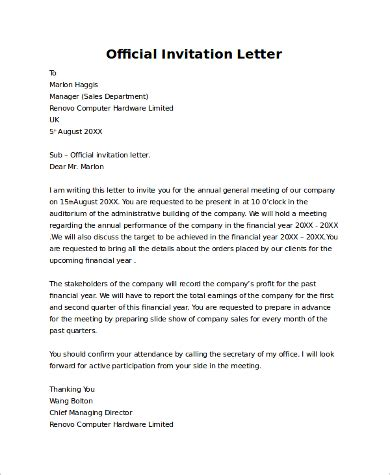 Conference Speaker Invitation Letter Sle Invitation Letter Sle For Conference 28 Images