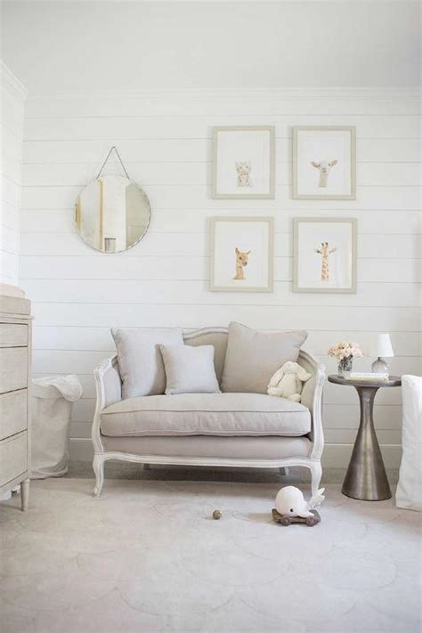gray nursery with gray settee transitional