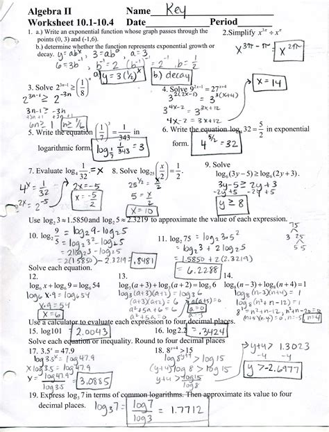 Math Worksheets And Answers by Mrscabral Algebra 2 Worksheet Answers