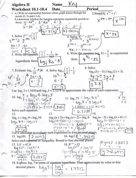 Algebra 2 Worksheets Answers by Algebra 2 Worksheet Answers 6 2 Mrscabral Algebra 2