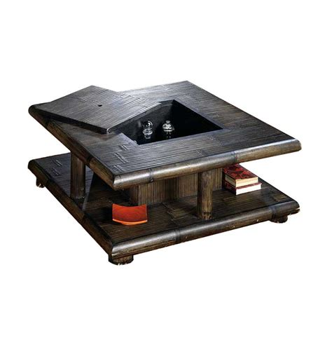 table salon coffre table basse bambou wenge avec coffre bar tao 2383
