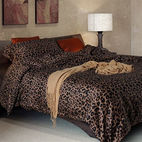 100 sateen cotton bedding set leopard print duvet cover