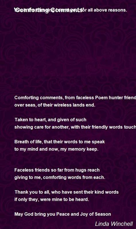 comforting poems comforting comments poem by linda winchell poem hunter