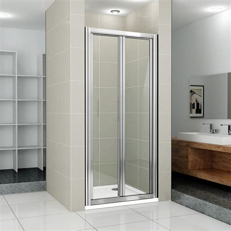 New Bi Fold Shower Enclosure Cubicle Glass Screen Door Shower Cubicle Door