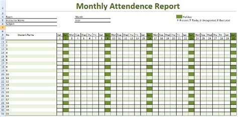 attendance report template search results for monthly attendance sheet format