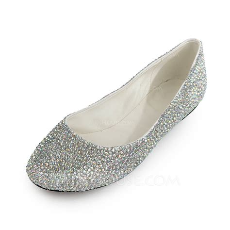 rhinestone flat shoes patent leather flat heel flats closed toe with rhinestone
