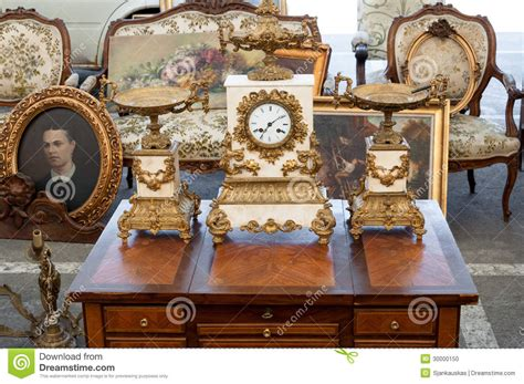furniture for sale vintage objects at flea market editorial image image