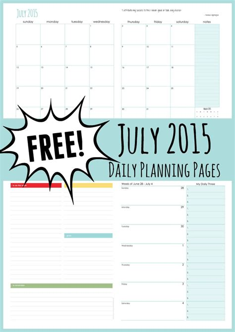 daily planner july 2015 july 2015 daily planning pages free