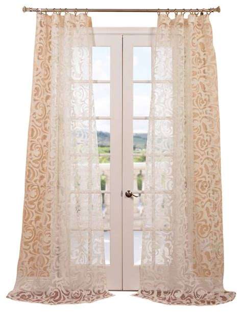 Patterned Sheer Curtains Margo Ivory Patterned Sheer Curtain Contemporary Curtains By Half Price Drapes