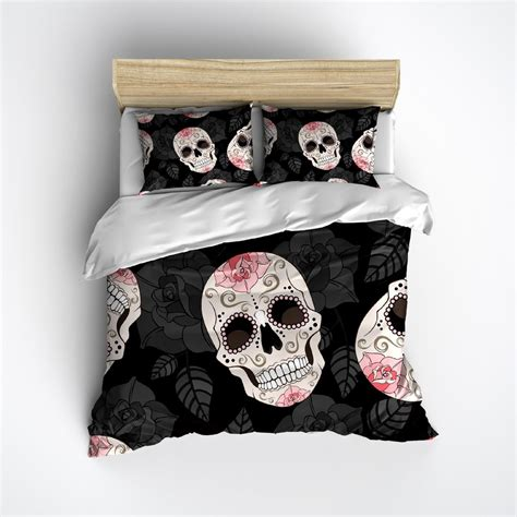 skull comforters pink rose sugar skull bedding ink rags