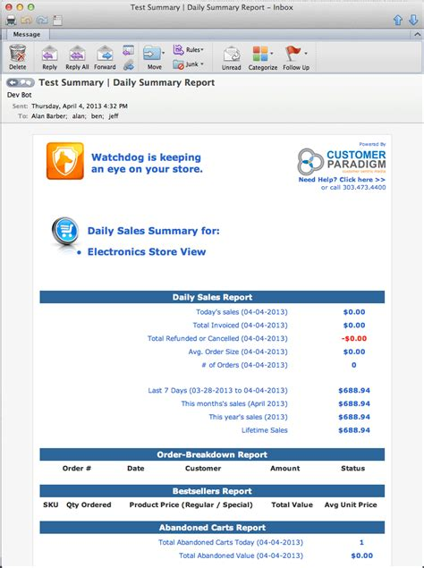 email format error moonton magento watchdog daily sales summary email report error