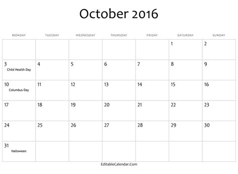 october calendar template search results for free editable calendar 2016