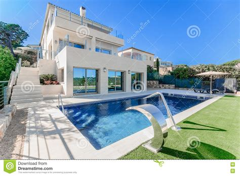 jets house luxury modern house with swimming pool with waterfall jet house stock photo image