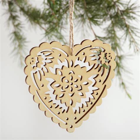 laser cut wood heart ornaments set of 3 world market