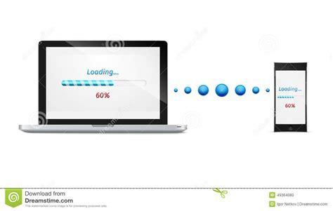 mobile file transfer computer phone file transfer vector illustration