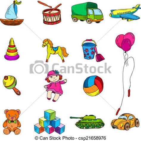 imagenes de juguetes en ingles para niños ilustraciones vectoriales de juguetes bosquejo conjunto