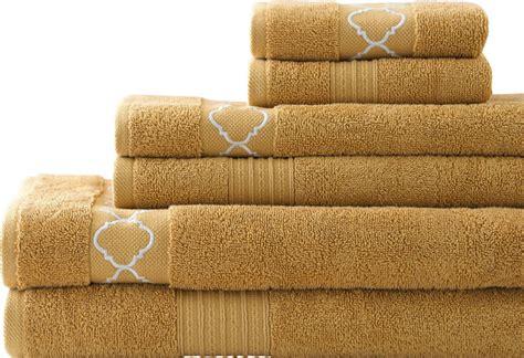 Gold Bathroom Towels Quatrefoil Embroidered Solid Zero Twist Cotton 6