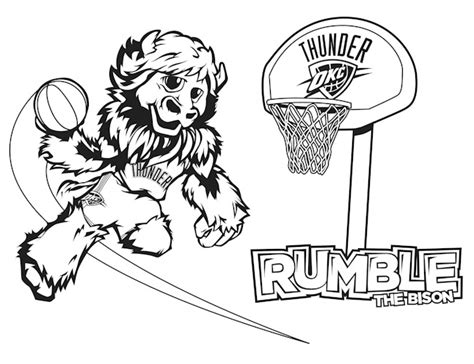 okc thunder basketball official free coloring pages