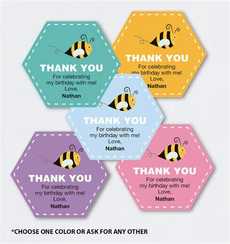 printable thank you tags for gift bags bee birthday favor tags printable pdf from rocknprint