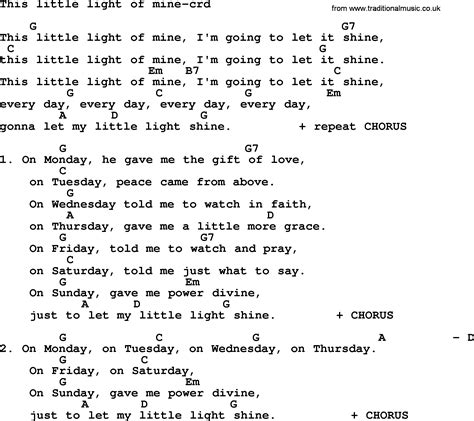 This Little Light Of Mine Guitar Chords