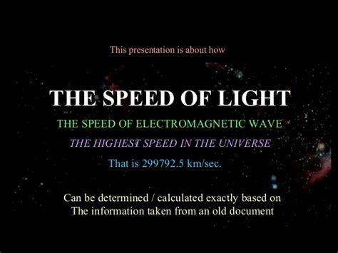 What Is The Speed Of Light In by The Speed Of Light