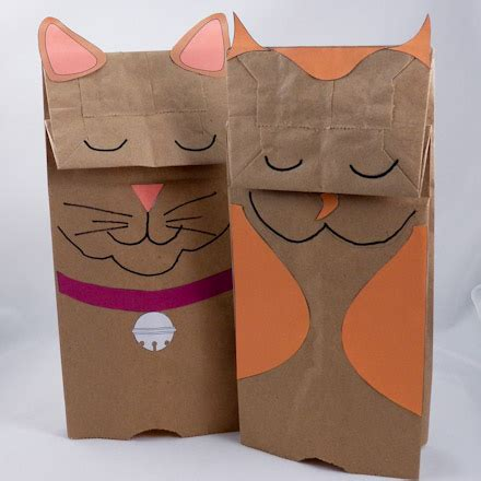 How To Make Puppets Out Of Paper Bags - how to make paper bag puppets cat and owl puppets