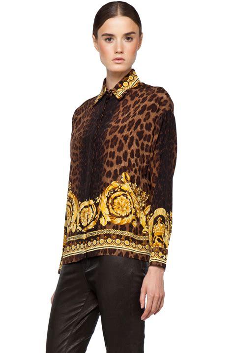 Blouse Leopard Gold 4 Versace Leopard Silk Blouse In Gold 2