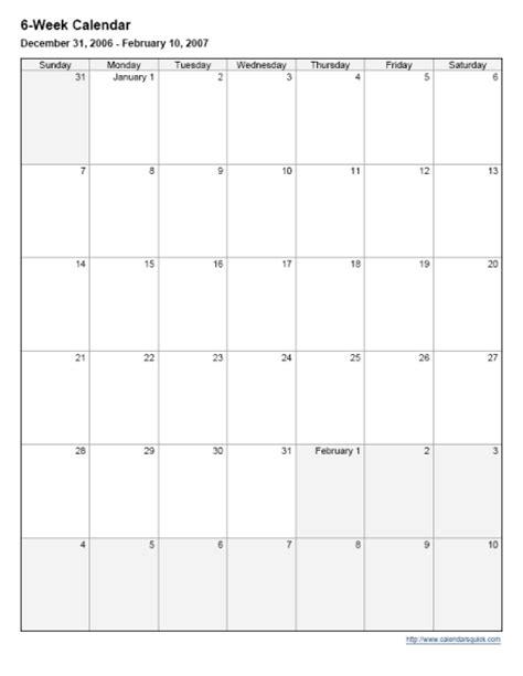 Calendar 6 Weeks 6 Week Calander New Calendar Template Site