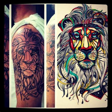 tattoo lettering hippie hippie lion in progress tattoo
