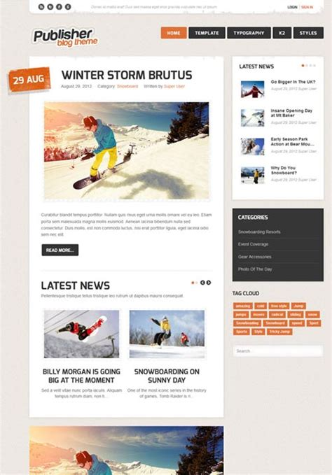 create blog layout joomla publisher a premium blog magazine joomla theme free