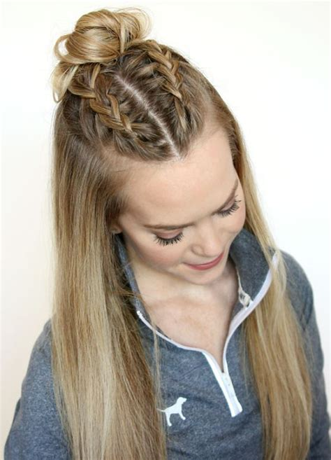 hairstyles of hair braided on the top and sides are shaved top half knot bun hair trend 2016 latest hairstyle ideas