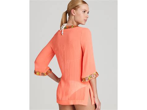 beaded swim cover up lyst milly embellished chiffon beaded tunic