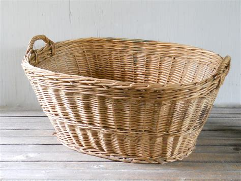 Vintage Wicker Laundry Basket Large Made In Hungary Large Wicker Laundry